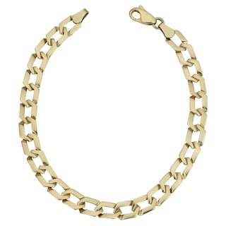 Fremada 10k Yellow Gold Flat Hexagon Link Bracelet