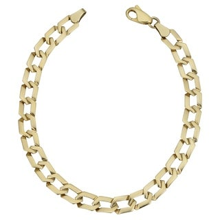 Fremada 10k Yellow Gold Flat Hexagon Link Bracelet