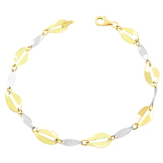 Fremada 10k Two-tone Gold Twisted Flat Oval Bracelet