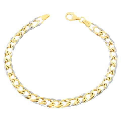 Fremada 10k Two-tone Gold Weave Chain Bracelet