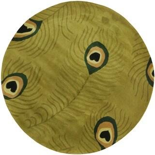 Herat Oriental Indo Hand-tufted Round Wool Rug - 6'