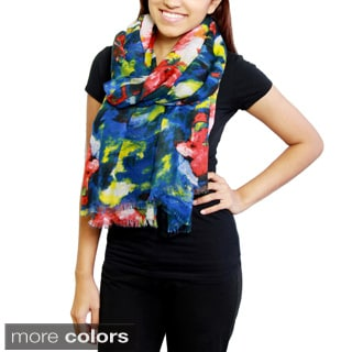 Handmade Saachi Women's Floral Watercolor Scarf (China)