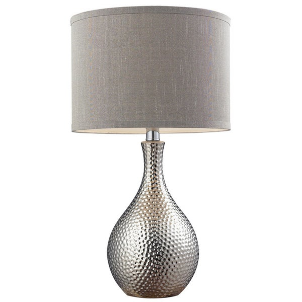 ceramic 1 light hammered chrome plated table lamp free shipping. Black Bedroom Furniture Sets. Home Design Ideas