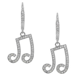 Journee Collection Silver-tone Cubic Zirconia Musical Note Dangle Earrings
