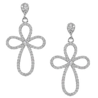 Journee Collection Silver-tone Cubic Zirconia Cross Dangle Earrings