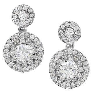 Journee Collection Silver-tone Cubic Zirconia Drop Earrings