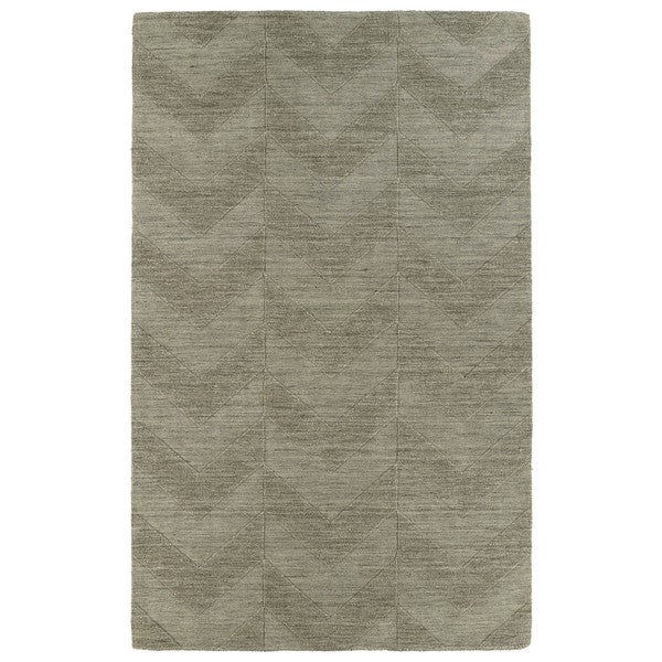 Hand Carved Light Brown Chevron Wool Rug - 8' x 11'