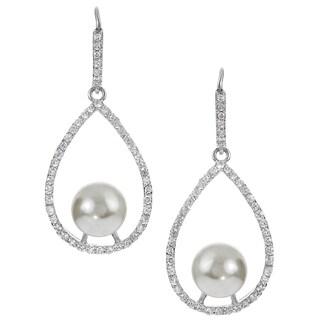 Journee Collection Cubic Zirconia Faux Pearl Dangle Earrings