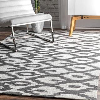 nuLOOM Handmade Modern Ikat Trellis Grey Rug (6' x 9')