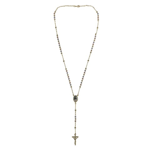 Handmade Goldplated Tri-color 4 mm Bead Jesus Medallion Rosary Necklace (Brazil)