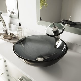 VIGO Sheer Black Glass Vessel Sink and Waterfall Faucet Set in Brushed Nickel
