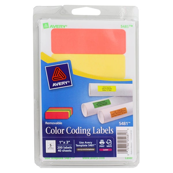 shop avery removable color coding labels 1 inch x 3 inch assorted