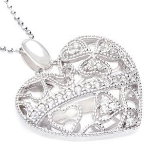 Sofia Sterling Silver Open Back Lace Heart Pendant with White Topaz