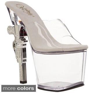 Pleaser Women's 'Revolver-701' Clear Molded Gun Heel Platform Sandals