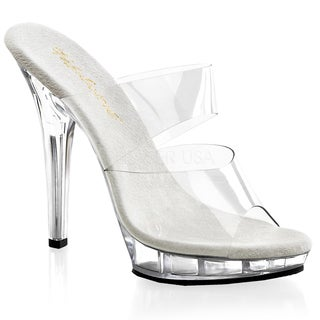 Pleaser Women's 'Lip-102' Clear Two-Band Platform Slide Pumps
