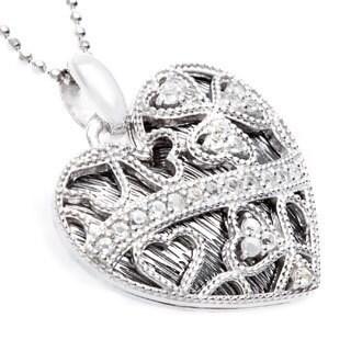 Sofia Sterling Silver White Topaz Black Lace Necklace