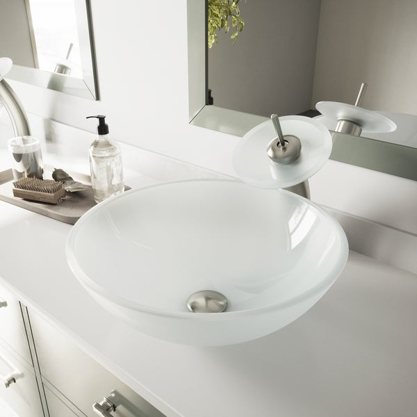 Shop Vigo White Frost Vessel Sink And Brushed Nickel Waterfall