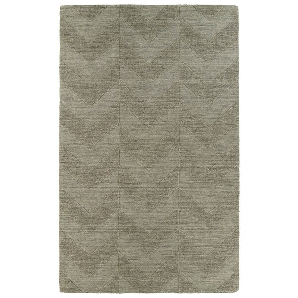 Hand Carved Light Brown Chevron Wool Rug - 9'6 x 13'6