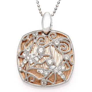 Sofia Sterling Silver and Rose Goldplated White Topaz Lace Necklace