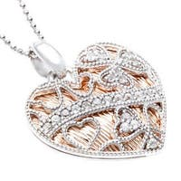 Sofia Sterling Silver and Pink Goldplated White Topaz Lace Heart Necklace