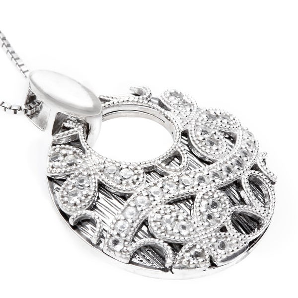 Sofia Sterling Silver and Black Rhodium White Topaz Closed Black Round Lace Butterfly Necklace