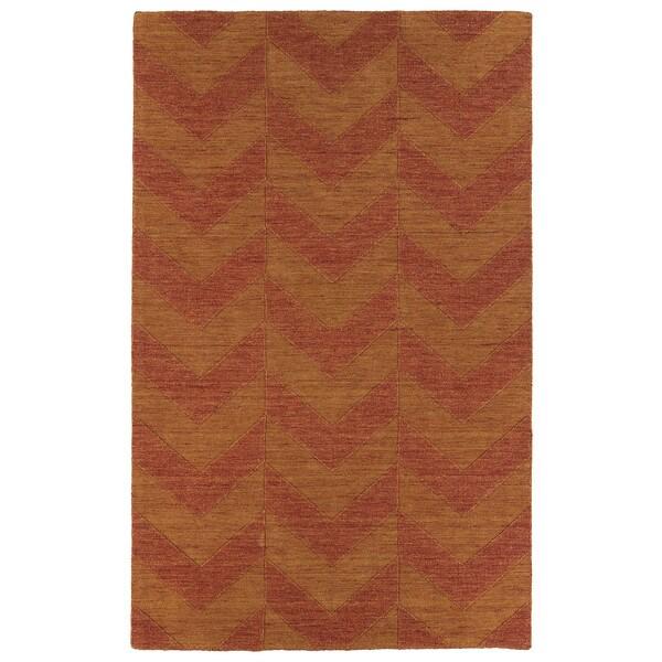 Hand Carved Paprika Chevron Wool Rug (9'6 x 13'6)