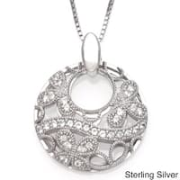 Sofia Sterling Silver Round Butterfly Design Lace White Topaz Pendant Necklace