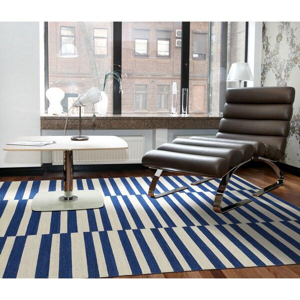 Flatweave TriBeCa Blue Stripes Wool Rug - 8' x 10'