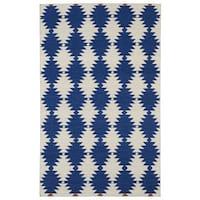 Flatweave TriBeCa Blue Wordly Wool Rug (3'6 x 5'6)