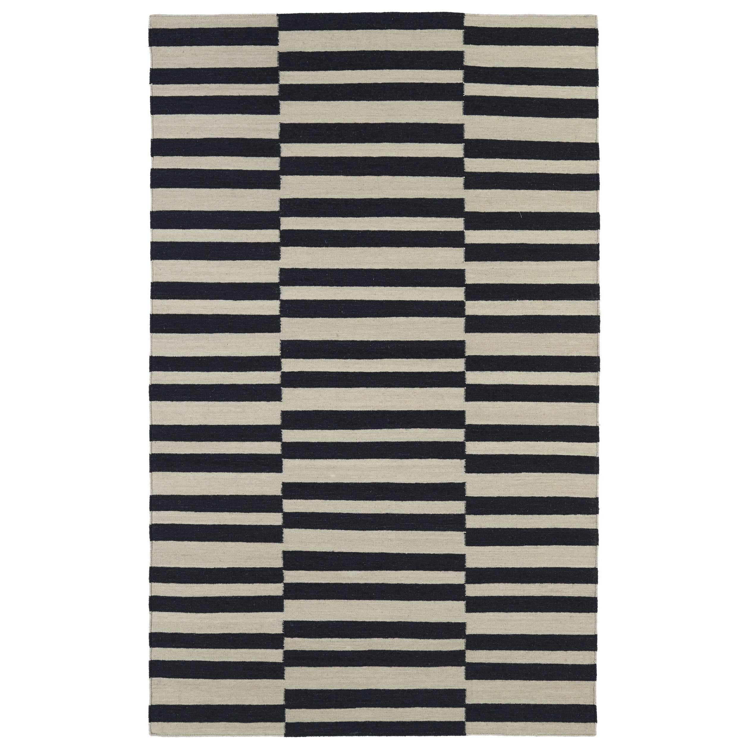 Black Stripes Wool Rug