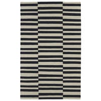 Flatweave TriBeCa Black Stripes Wool Rug - 8' x 10'