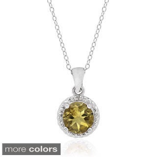 Dolce Giavonna Sterling Silver Gemstone and Diamond Accent Circle Necklace (I-J, I2-I3)