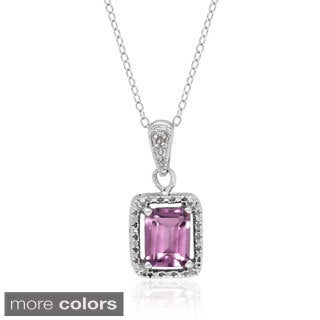 Dolce Giavonna Sterling Silver Gemstone and Diamond Accent Necklace (I-J, I2-I3)