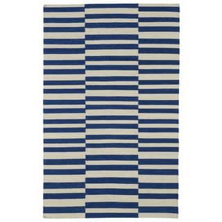 Flatweave TriBeCa Blue Stripes Wool Rug (9' x 12')