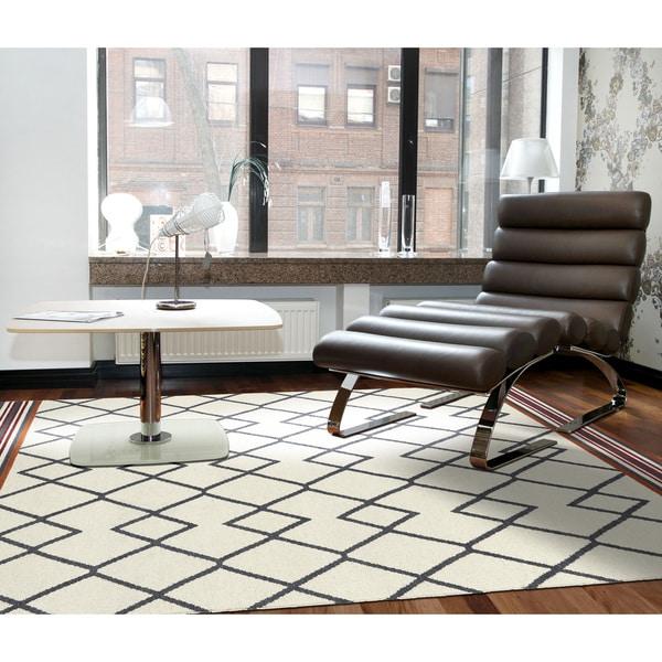 Flatweave TriBeCa Ziggy Grey Wool Rug - 5' x 8'
