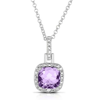 Dolce Giavonna Silverplated Gemstone and Diamond Accent Square Necklace (I-J, I2-I3)