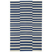 Flatweave TriBeCa Blue Stripes Wool Rug - 5' x 8'
