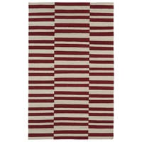 Flatweave TriBeCa Red Stripes Wool Rug - 9' x 12'