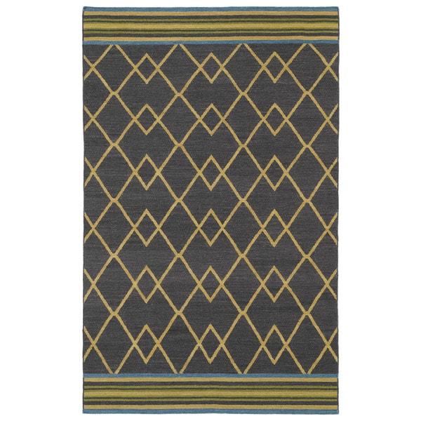 Flatweave TriBeCa Ziggy Charcoal Wool Rug - 5' x 8'