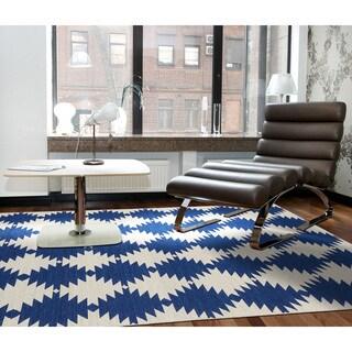 Flatweave TriBeCa Blue Wordly Wool Rug - 5' x 8'