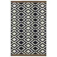 Flatweave TriBeCa Black Geo Wool Rug (9' x 12') - 9' x 12'