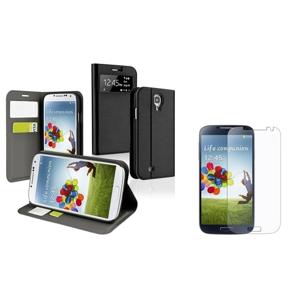 INSTEN Leather Phone Case Cover/ Screen Protector for Samsung Galaxy S4 i9500