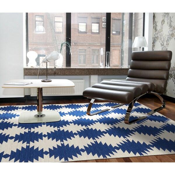 Flatweave TriBeCa Blue Wordly Wool Rug - 9' x 12'