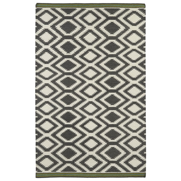 Flatweave Tribeca Grey Geo Wool Rug 8 X 10 15765226