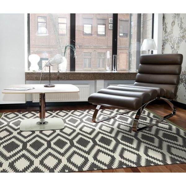 Flatweave TriBeCa Grey Geo Wool Rug (8' x 10')