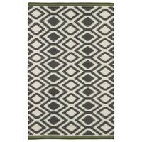 Flatweave TriBeCa Grey Geo Wool Rug - 8' x 10'