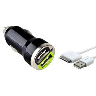 INSTEN USB Sync Cable/ Black Dual Car Charger Adapter for Apple