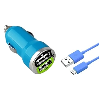 Insten Blue Dual 2A USB Mini Car Charger Adapter with 3-foot Micro USB Cable Cord for Samsung Galaxy S6/ Edge/ Motorola Moto G