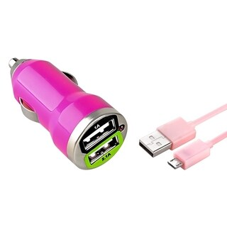 Insten 3-foot Pink Charging Data Transfer Micro USB M/ M Cable Cord/ Dual USB Mini Car Charger Adapter
