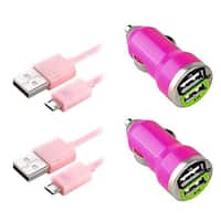Insten 3-foot Pink Micro USB Cable Cord/ Dual USB Mini Car Charger Adapter for HTC One M9/ Samsung Galaxy S6/ Edge (Pack of 2)